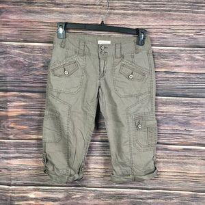 Aeropostale green khaki cargo Capri pants 3\4